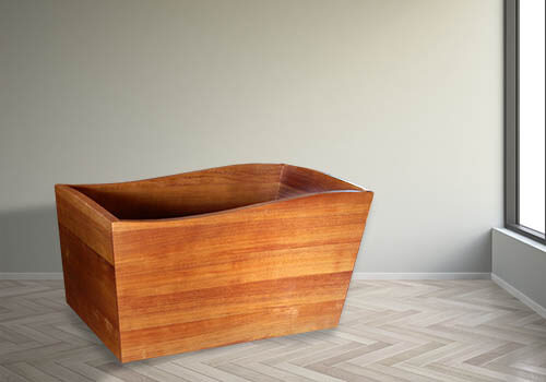 A new wooden bathtub