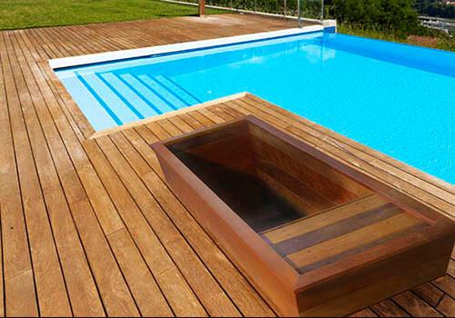 Outdoor Wooden Bathtub inset into deck
