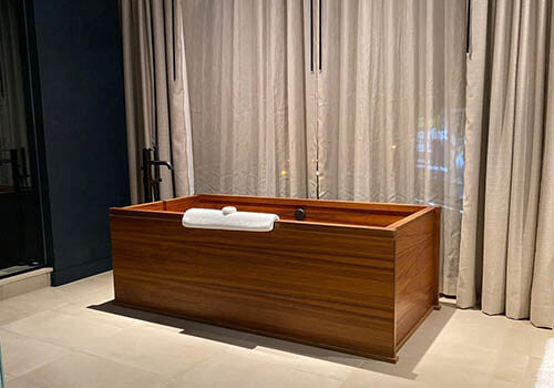 Beautiful wooden Japanese bathtub